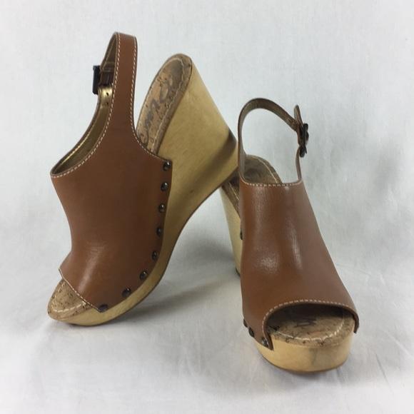 4b87fb514b85ae Sam Edelman Shoes - Sam Edelman slingback wooden wedge 10M Camilla tan